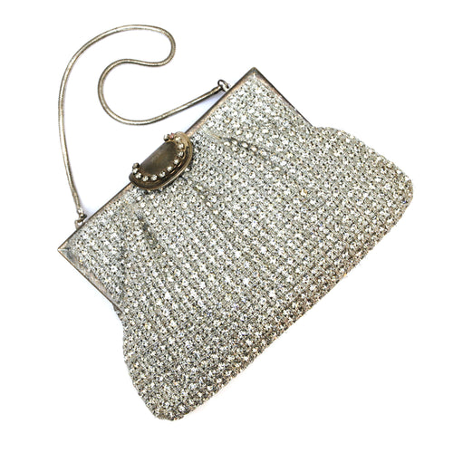 Crystal Silver Beaded Purse