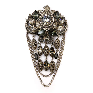 Silver Filigree and Smoke Dangly Brooch