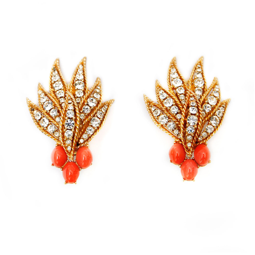 1950s Ciner Coral and Diamante Earrings
