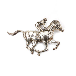1950s Sterling Lang Horse Racing with Jockey Brooch