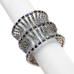 1950 Scalloped Blue and Diamante Bracelet