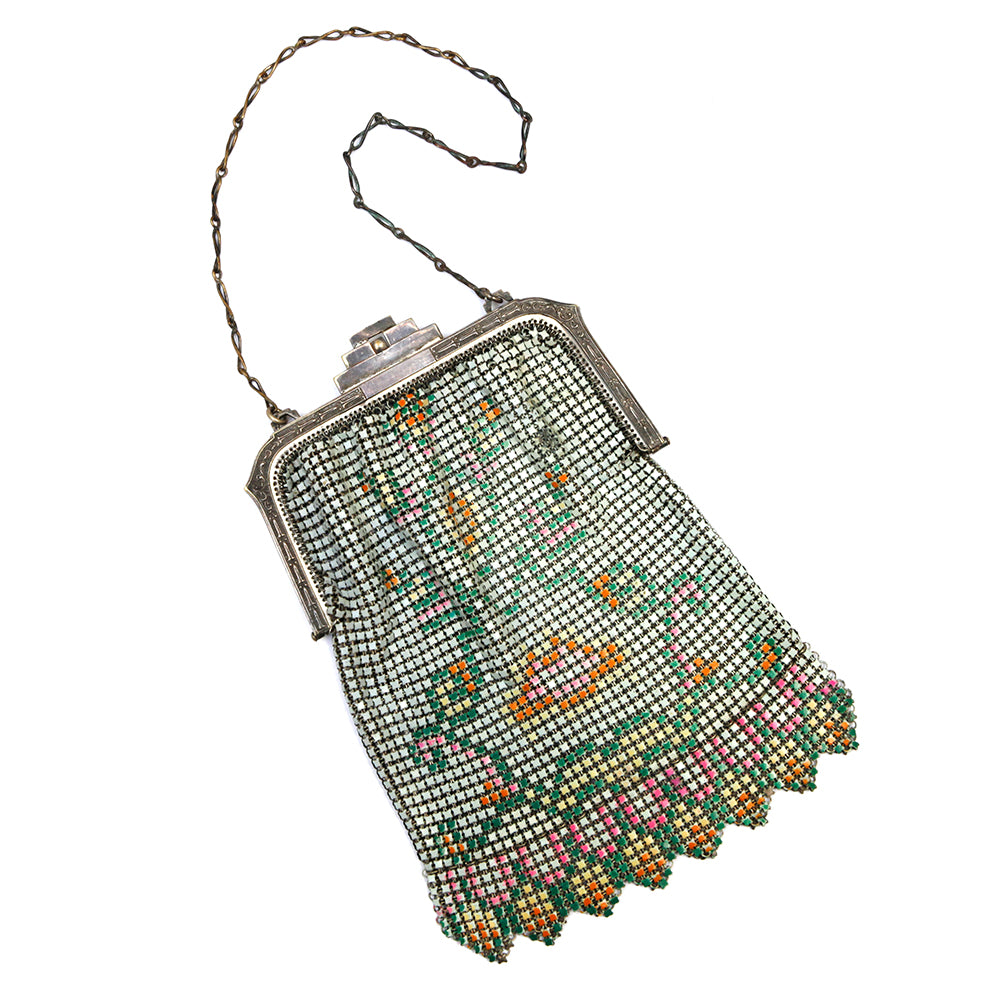 Whiting and Davis Painted Mesh Purse