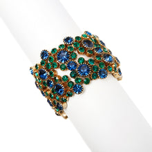 Load image into Gallery viewer, Green and Blue Rhinestone Bracelet