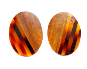 1950 Wood and Tortoiseshell Earrings