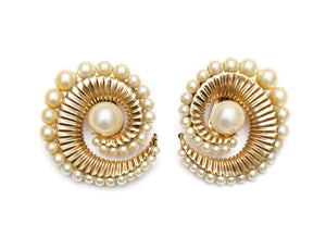 Napier Textured Pearl Swirl Earrings
