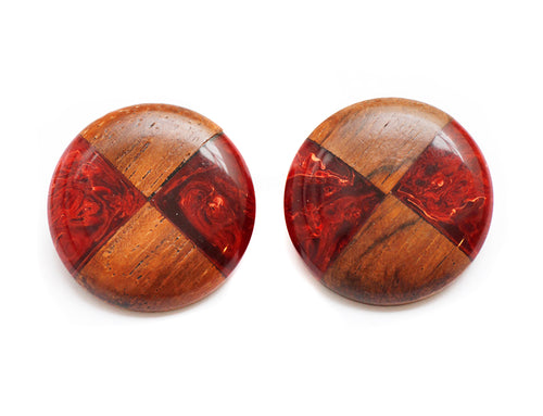 1940 Wood and Bakelite Button Earrings
