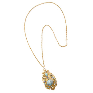 Florenza Gold and Blue Stone Necklace