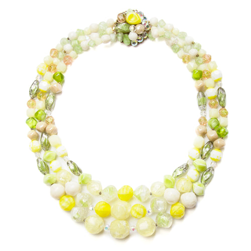 1950s Green and Yellow Glass Necklace