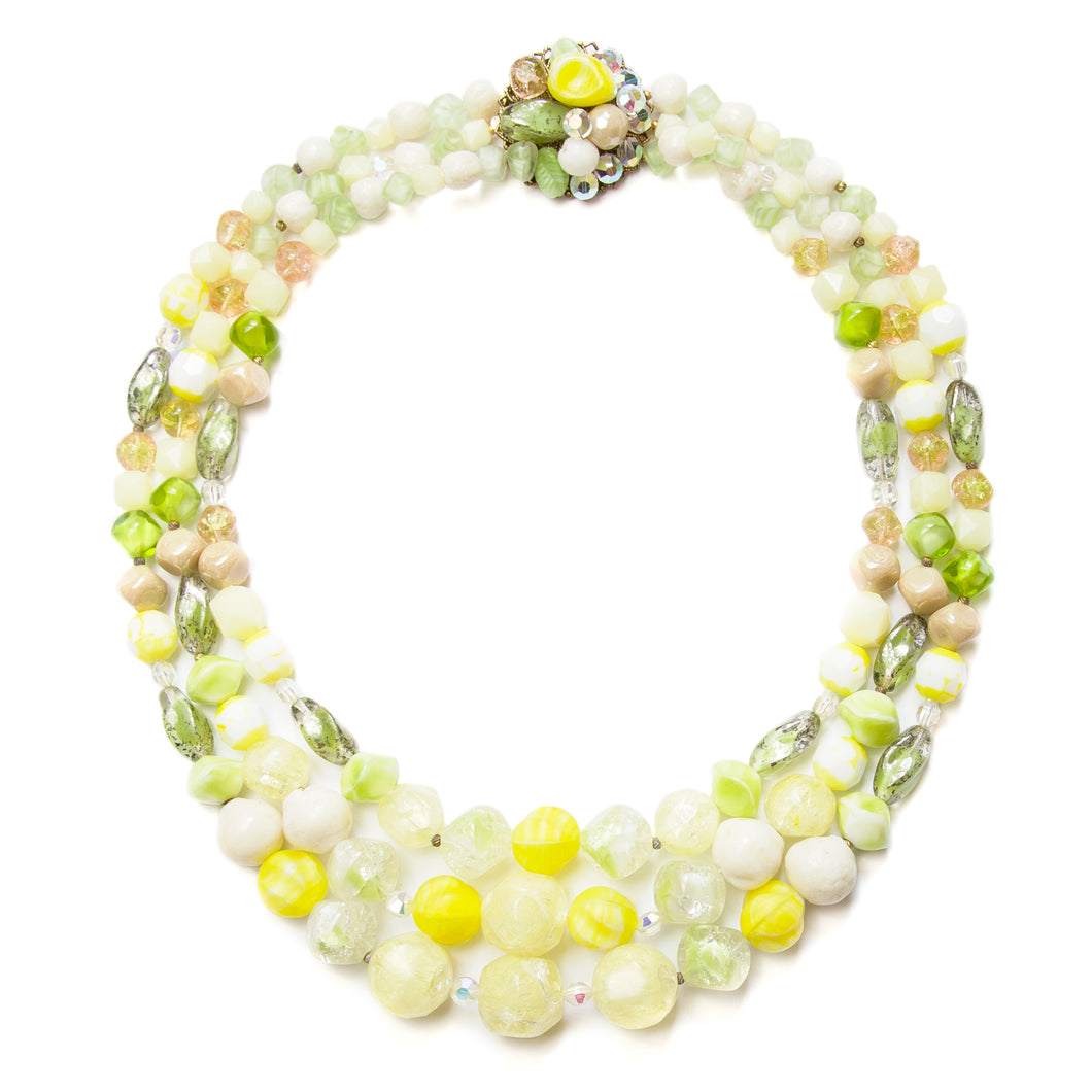 1950 Green and Yellow Glass Necklace