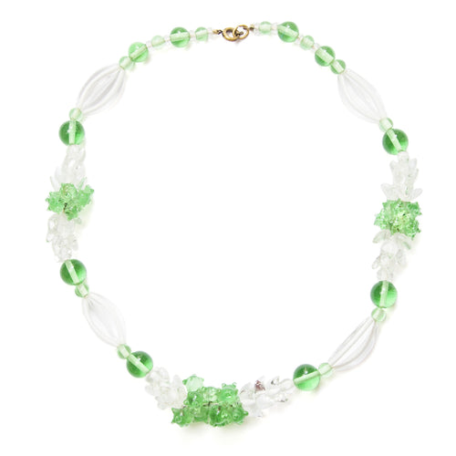 1940s French White and Green Glass Choker