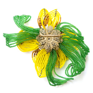 1950 Large Beaded Flower Brooch
