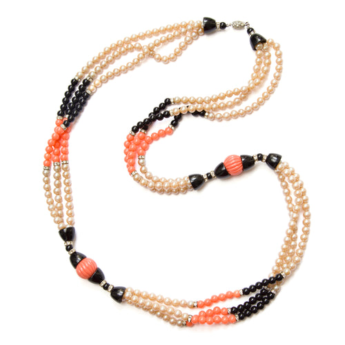 1960s Coral, Black, and Pearl Necklace