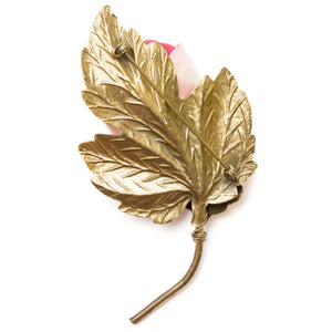 Blumenthal Pink and Gold Flower Brooch
