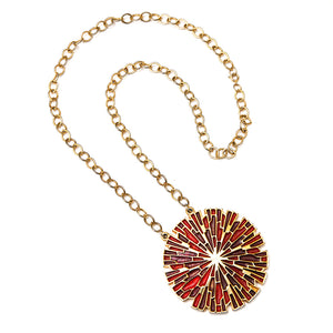 Lupe Purple, Red and Gold Starburst Pendant Necklace