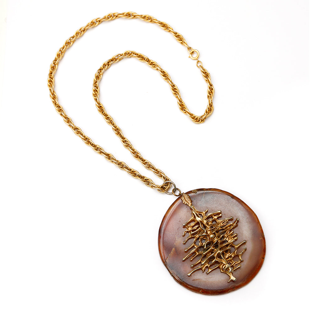 Amber and Gold Brutalist Pendant Necklace