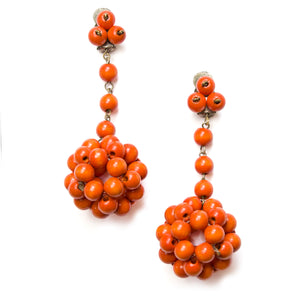 1930s Czech Orange Wood Earrings