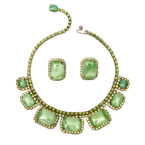 Green Rhinestone Necklace and Earring Set