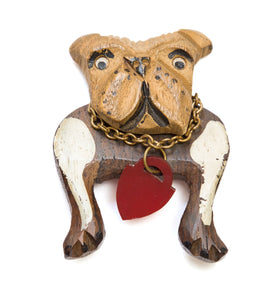 Wood Bulldog Brooch