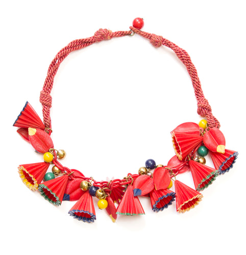 1940s Miriam Haskell Red Plastic Necklace