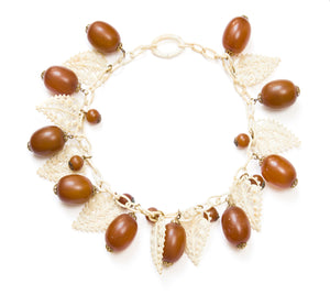 1930 White and Amber Celluloid Necklace