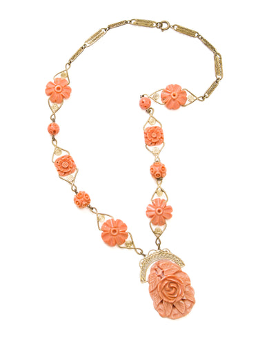 1930s Floral Coral Necklace