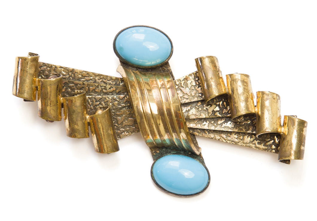 1920 Gold and Turquoise Bar Brooch