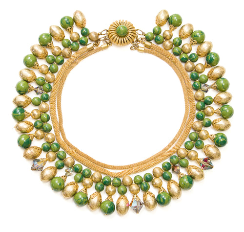 1950 Gold and Green Necklace