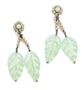 1950s Miriam Haskell Green Glass Leaf Earrings