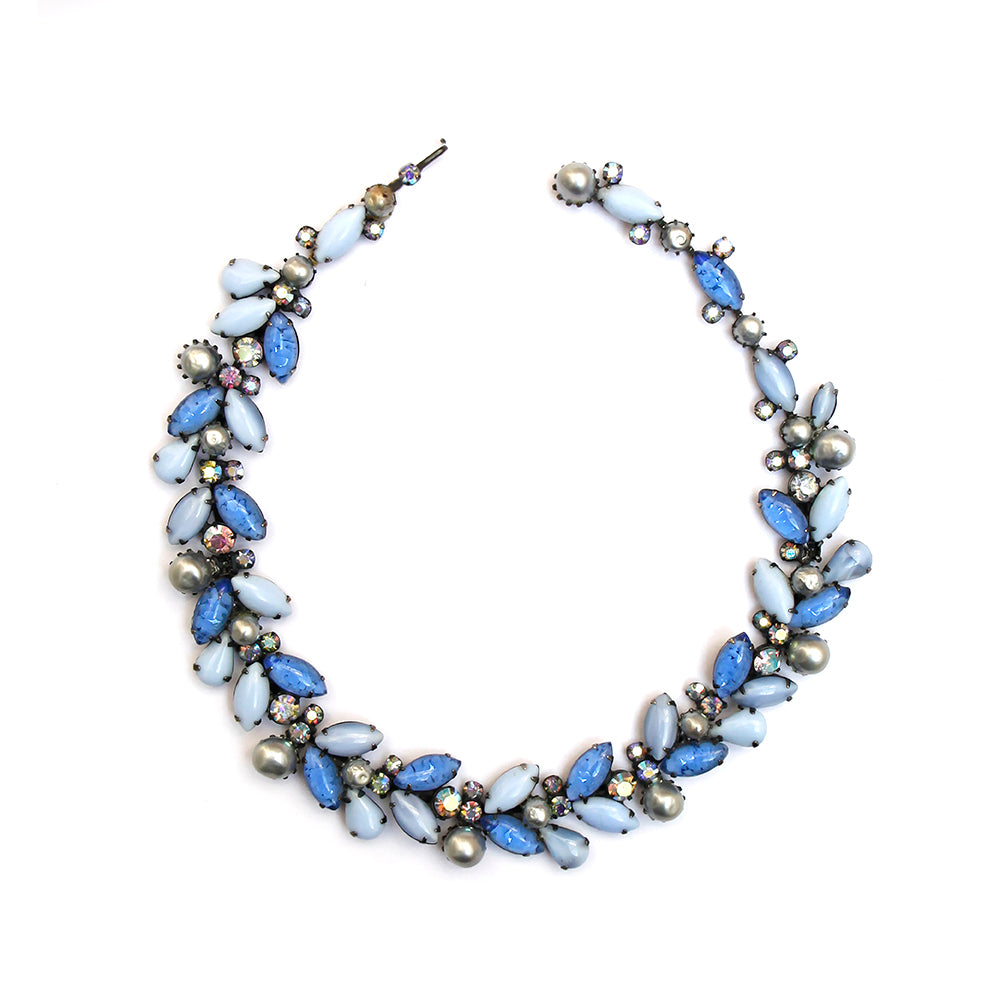 1950s Kramer Blue Floral Necklace