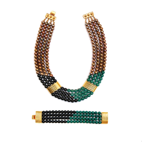 Ben Amun Blue, Green, and Gold Beaded Set