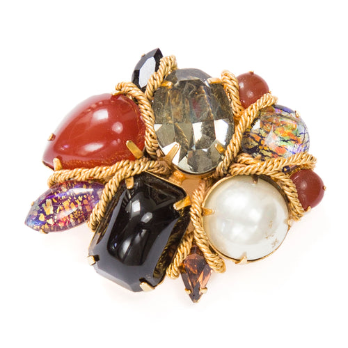 Vogue Amber and Pearl Brooch