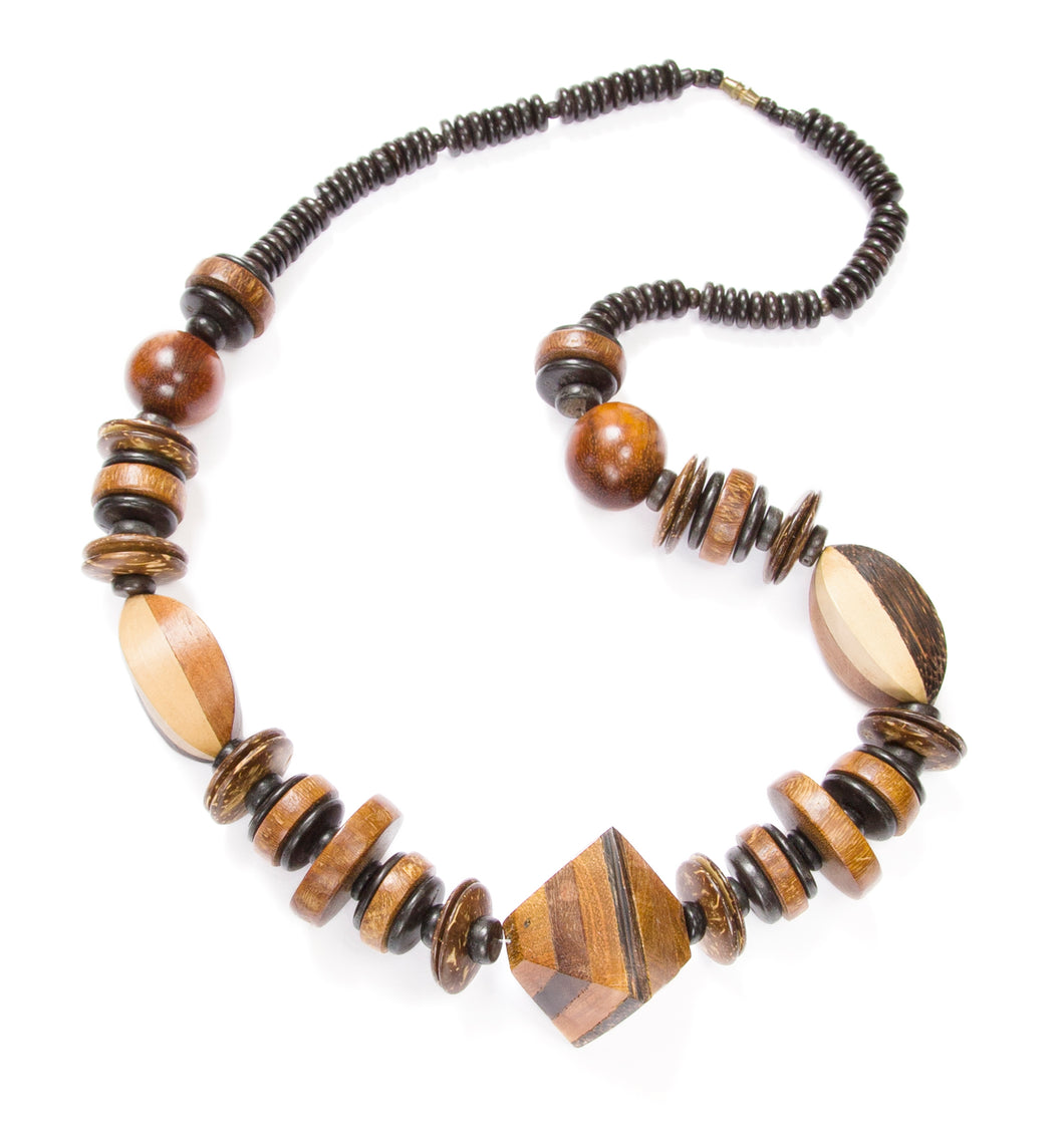 Brown and Black Large Wood Necklace
