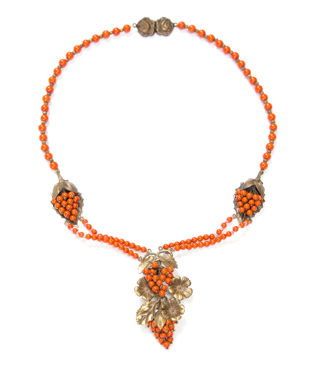 Orange and Gold Tone Necklace