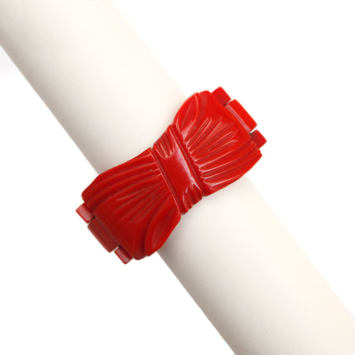 1940 Red Bakelite Bow Bracelet