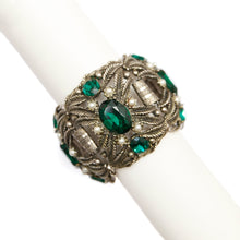 Load image into Gallery viewer, 1950 Silver Bracelet with Green Stones and Pearls