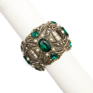 1950 Silver Bracelet with Green Stones and Pearls