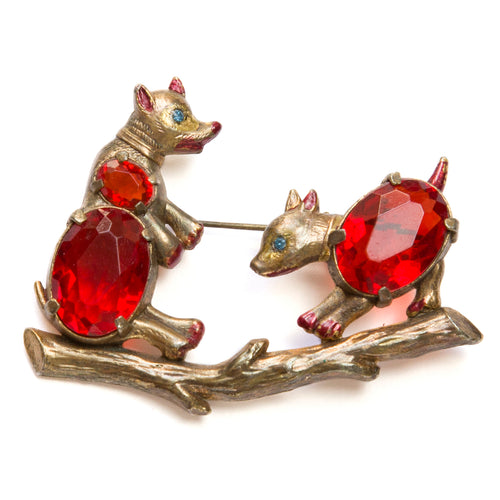 Double Ruby Bear Brooch