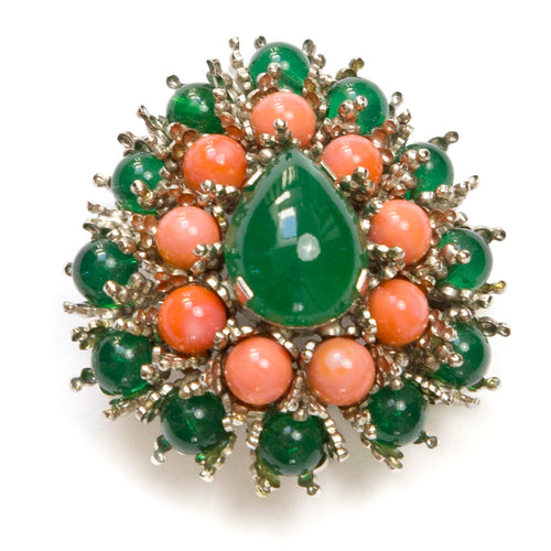 Austria Coral and Green Brooch