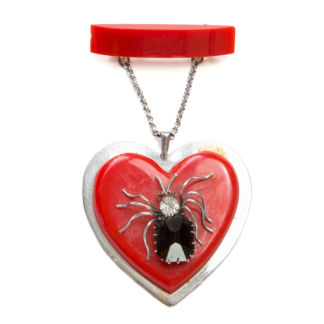 Heart Brooch with Black Spider