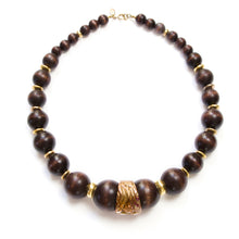 Load image into Gallery viewer, Cadoro Red Wood Beaded Necklace
