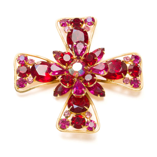 Weiss Red and Pink Cross Brooch