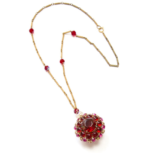 1950 Pink and Red Domed Pendant Necklace