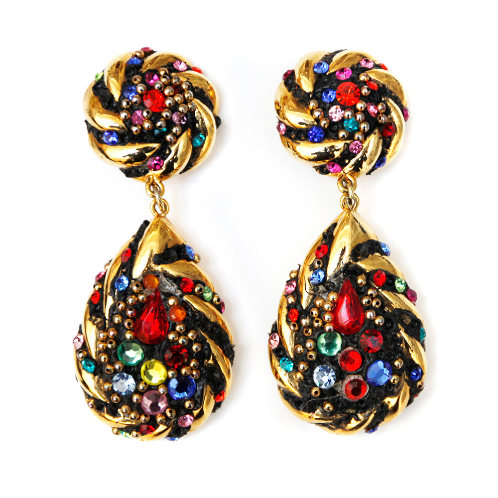 Multi Colored Rhinestone Gold Earrings