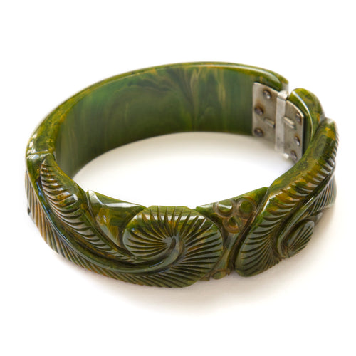 Carved Green Bakelite Bracelet