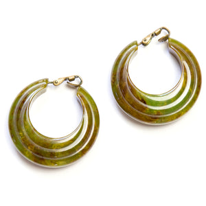 Green and Brown Bakelite Hoop Earrings