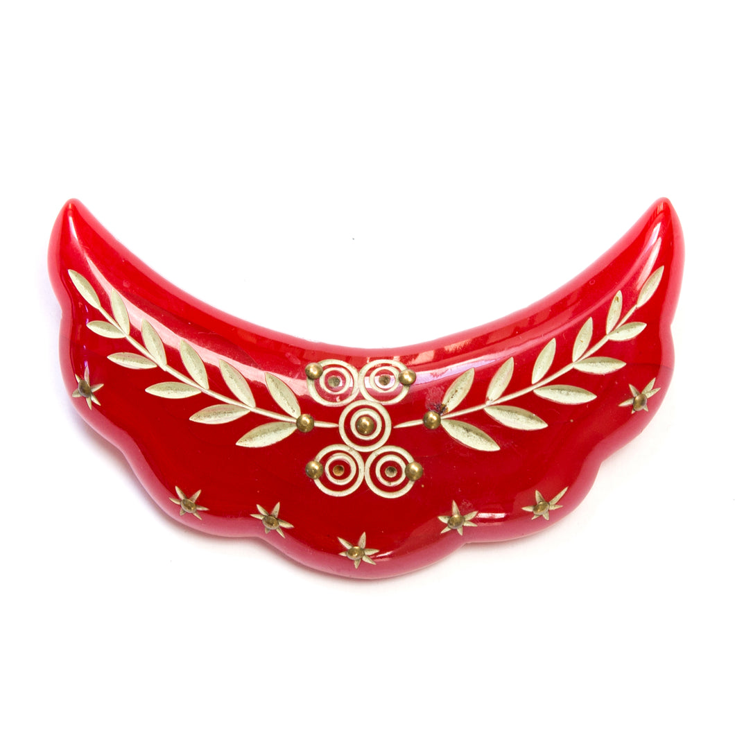 1930 Carved Red Bakelite Brooch