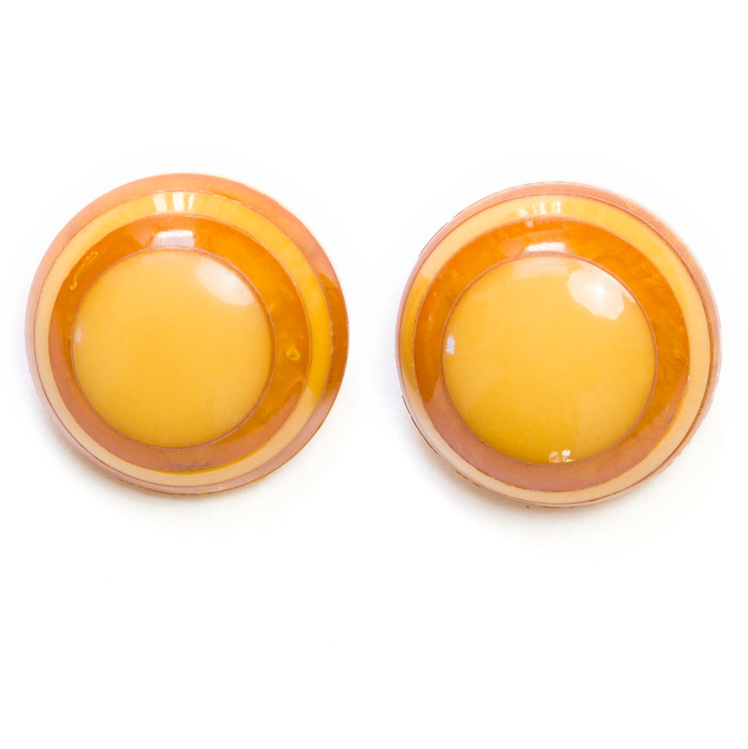 1930 Applejuice Bakelite Button Earrings