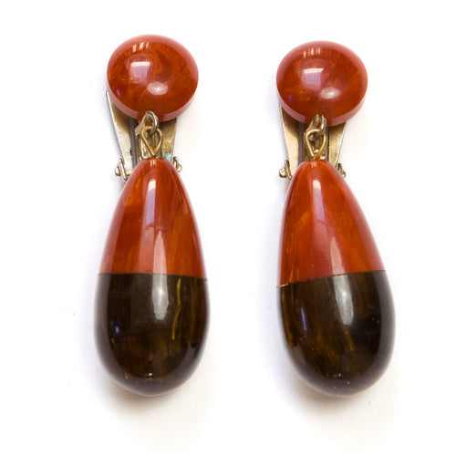 1930 Rust Bakelite Earrings