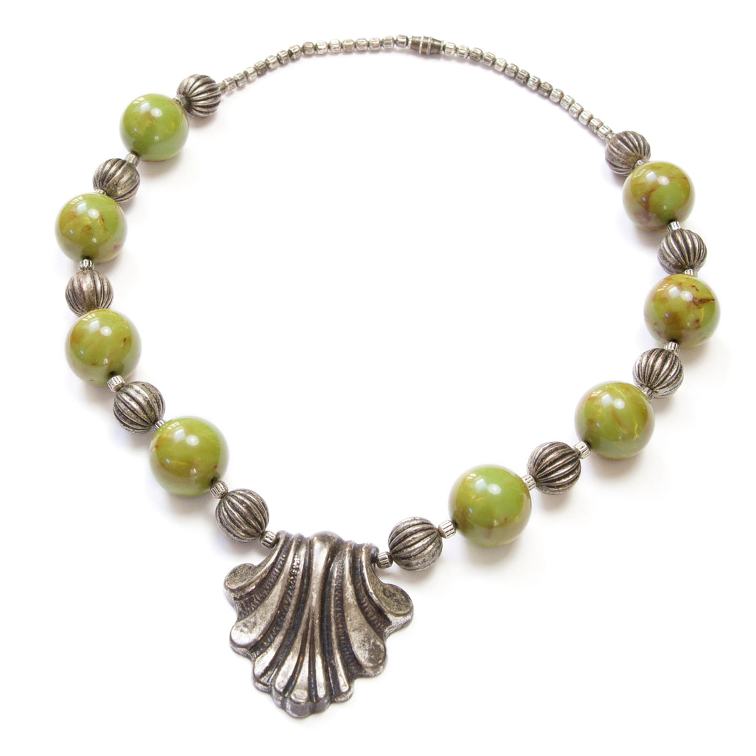 1950 Silver and Bakelite Beaded Necklace