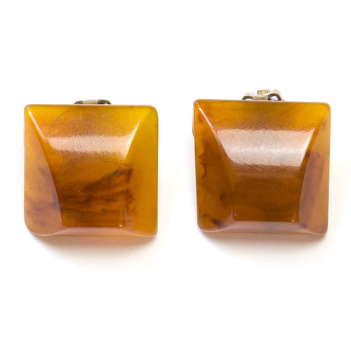 1940 Amber Bakelite Earrings